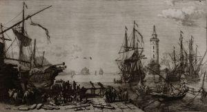 Galee che sbarcano al porto