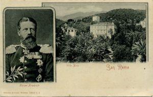 Cartolina con Villa Zirio e l'immagine del futuro Kaiser